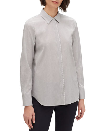 Scottie Urbania-Stripe Button-Front Blouse