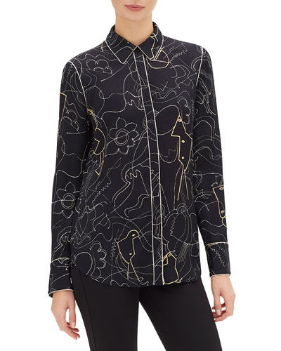 Scottie Progressive-Print Button-Down Blouse