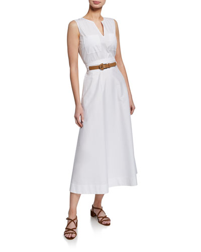 Janelle Sleeveless Belted Stretch-Cotton Midi Dress