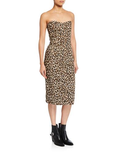 Liza Leopard-Print Strapless Dress