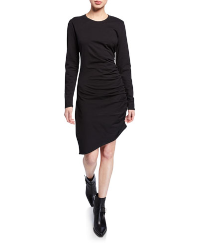 Jaelyn Ruched Long-Sleeve Asymmetric Dress