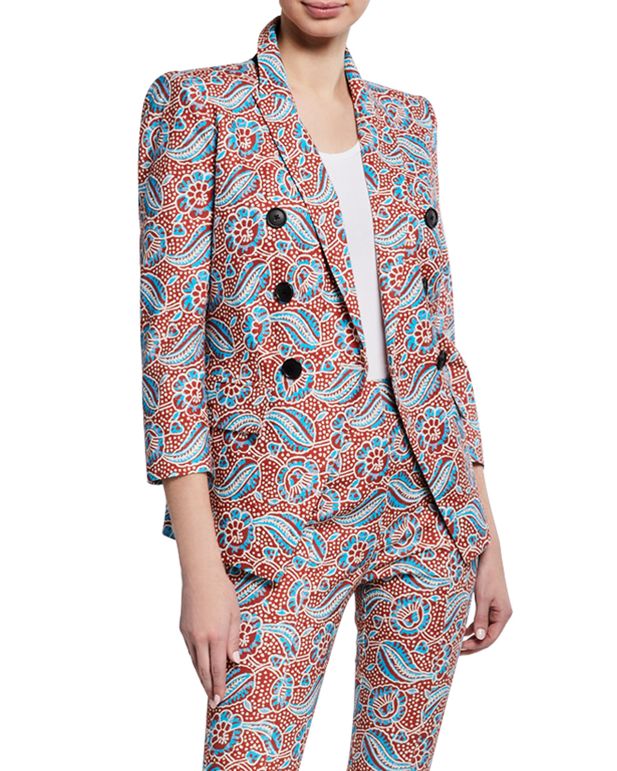 Veronica Beard Jackets EMPIRE PRINTED LINEN-BLEND DICKEY JACKET