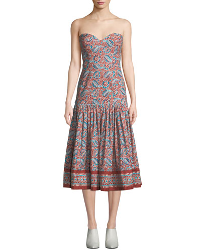 Fiore Printed Sweetheart Midi Dress