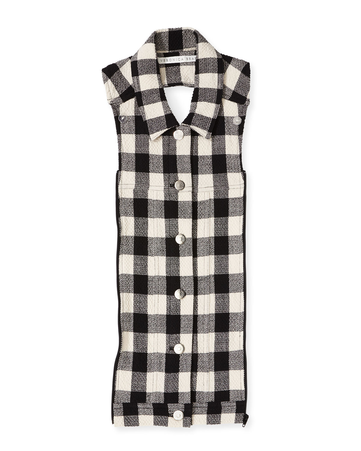 Veronica Beard Cottons SLATE GINGHAM BUTTON-FRONT DICKEY