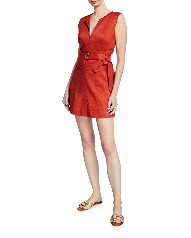 Veronica Beard Dresses SADIRA LINEN-BLEND V-NECK SHORT DRESS