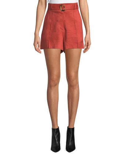 Makayla Belted High-Rise Linen Shorts