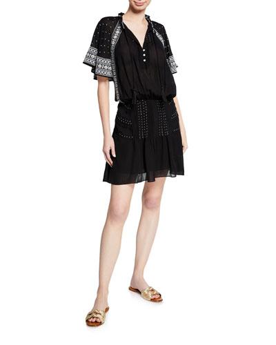 Minos Embroidered Flutter-Sleeve Short Dress