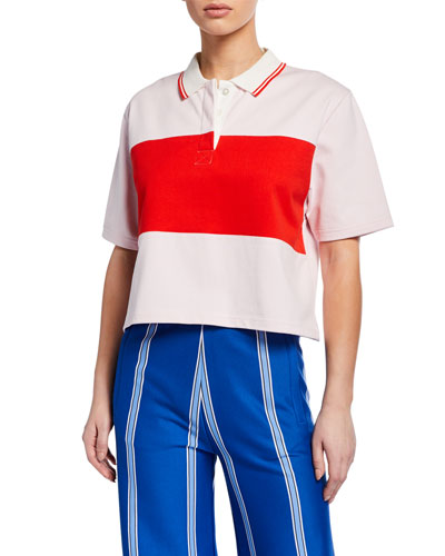 Colorblock Cropped Polo Shirt