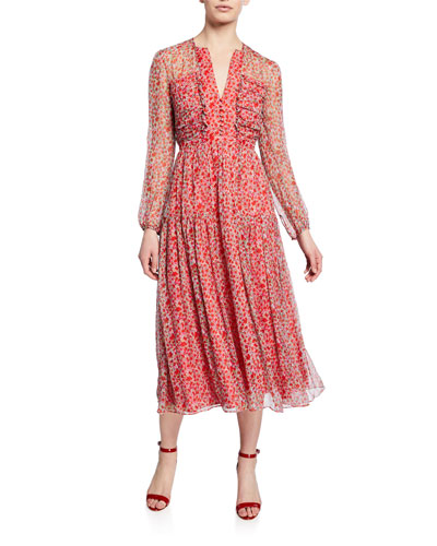 Printed Silk Crinkle Chiffon Dress