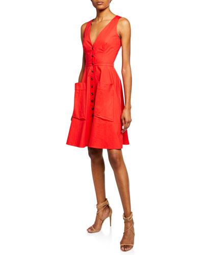 Button-Front Sleeveless Stretch Poplin Dress