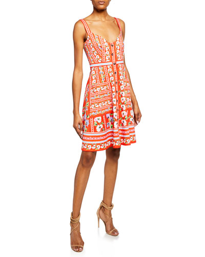 Fara Floral-Print V-Neck Sleeveless Short-B Dress