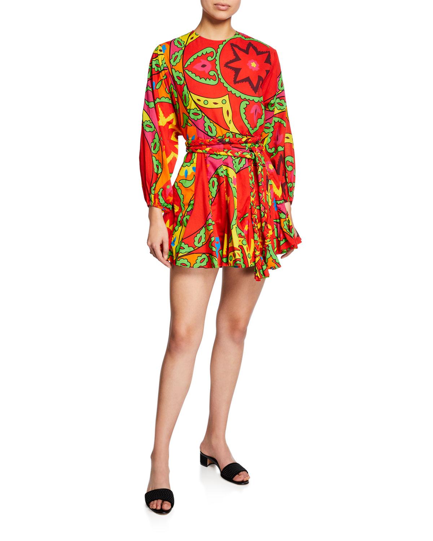 Rhode Ella Printed Long-Sleeve Dress