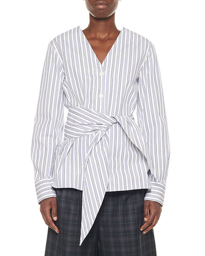 Liam Striped Shirting Belted V-Neck Top