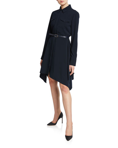 Roxanne Button-Front Long-Sleeve Belted Dress