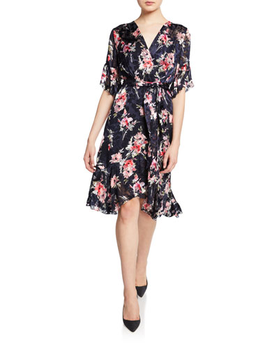 2a5d54f16a5 Isabelle Floral-Print Short-Sleeve Ruffle-Trim Dress Quick Look. Elie Tahari