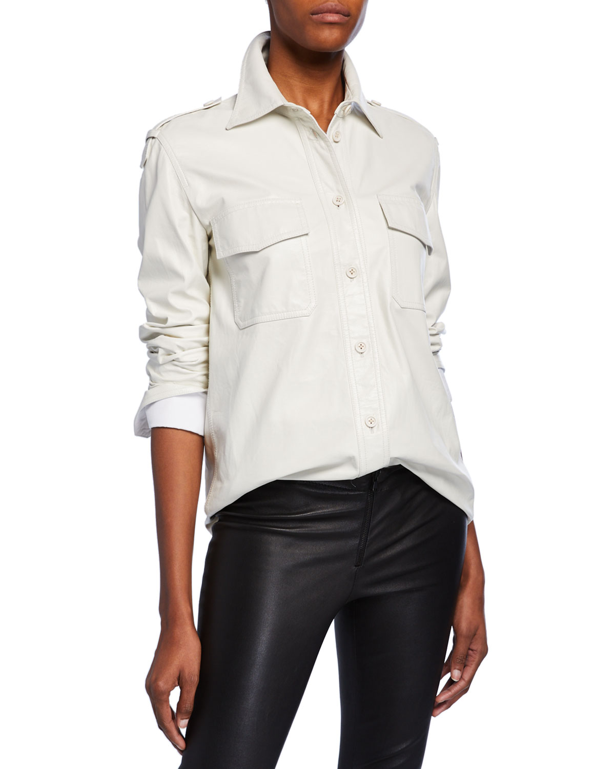 Helmut Lang T-shirts LEATHER BUTTON-FRONT SHIRT