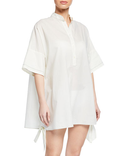 Mini Contrast Stitching Tie-Side Coverup Dress