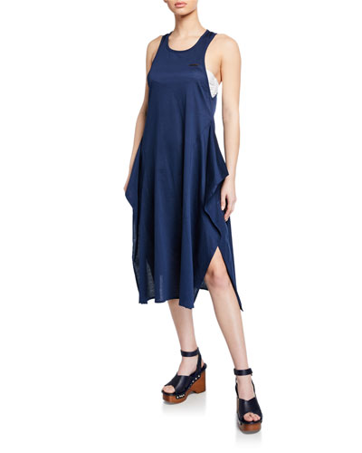 Lacing Long Racerback Flounce Coverup Dress