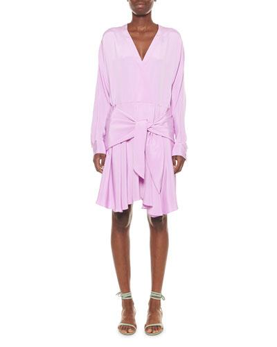 Silk Draped Faux-Wrap Dress