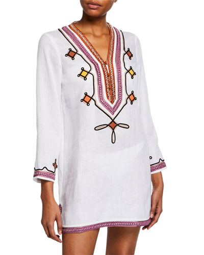 Embellished V-Neck Linen Tunic