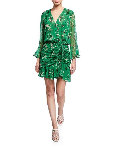 4a869fd18e979 Sean Floral-Print Ruched Flounce Dress