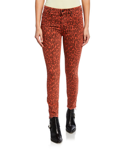 Looker Leopard-Print High-Waist Ankle Fray Jeans