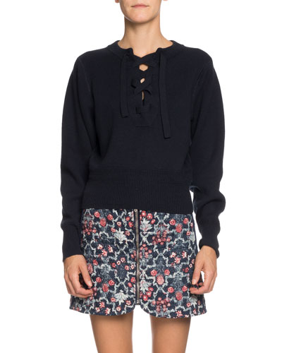 Kaylyn Lace-Up Pullover Sweater
