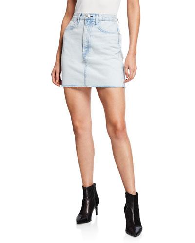 Moss High-Rise Denim Skirt w/ Raw Hem