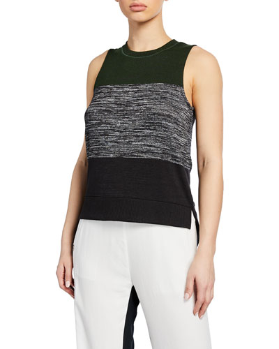 Bowery Striped High-Low Muscle Tank