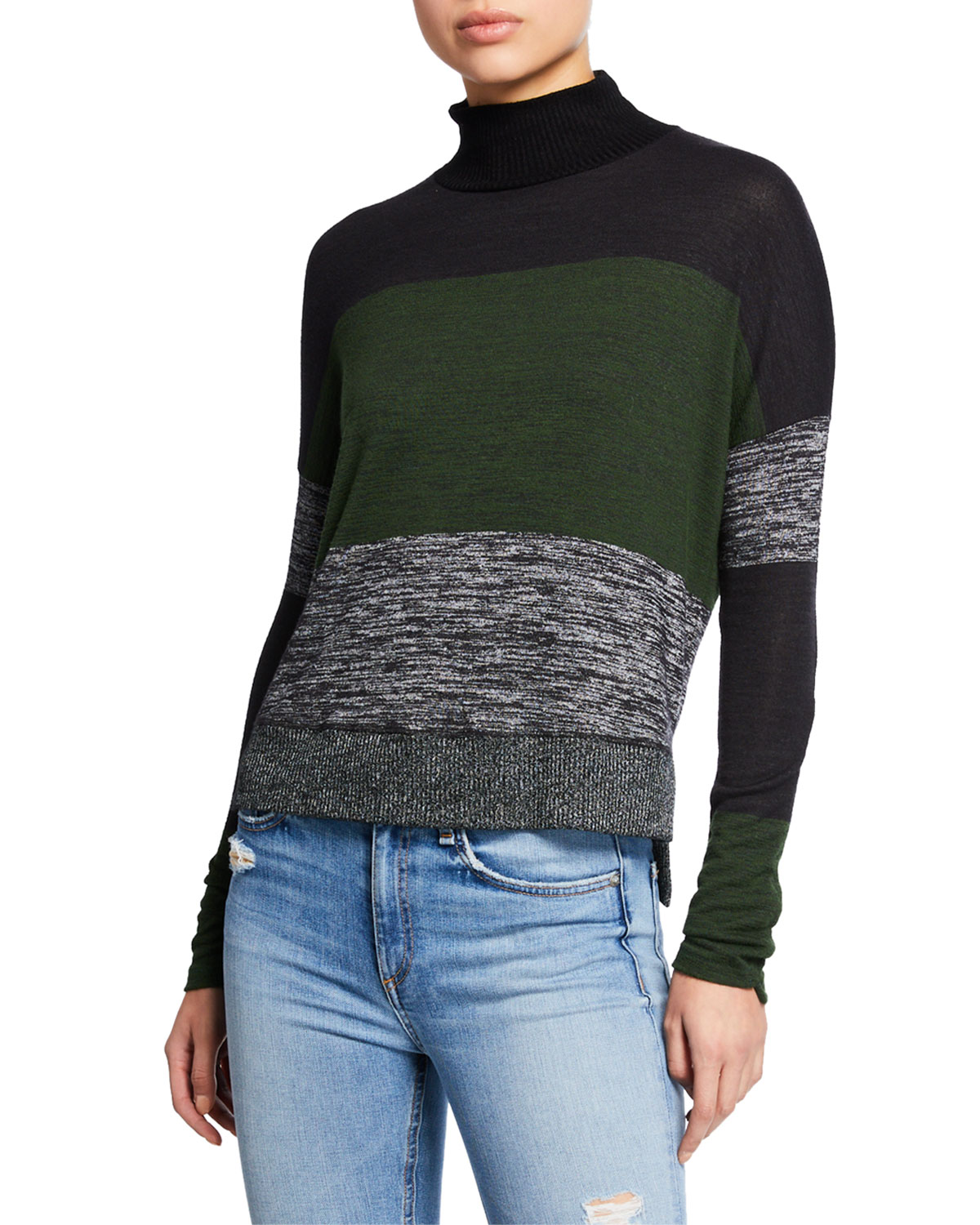 Bowery Striped High-Low Turtleneck Sweater in Emerald Strp