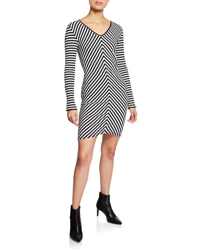 Halifax Striped V-Neck Long-Sleeve Mini Dress