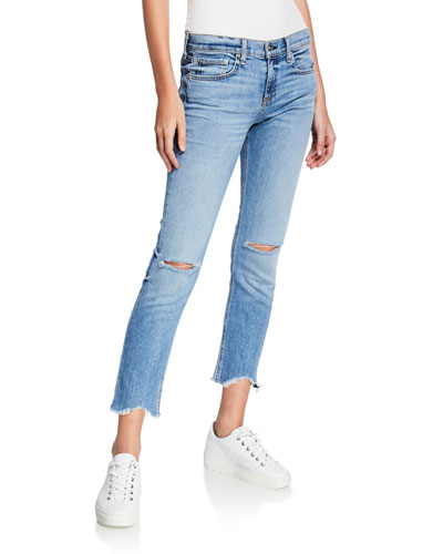 Ankle Dre Straight-Leg Jeans w/ Cutoff Hem