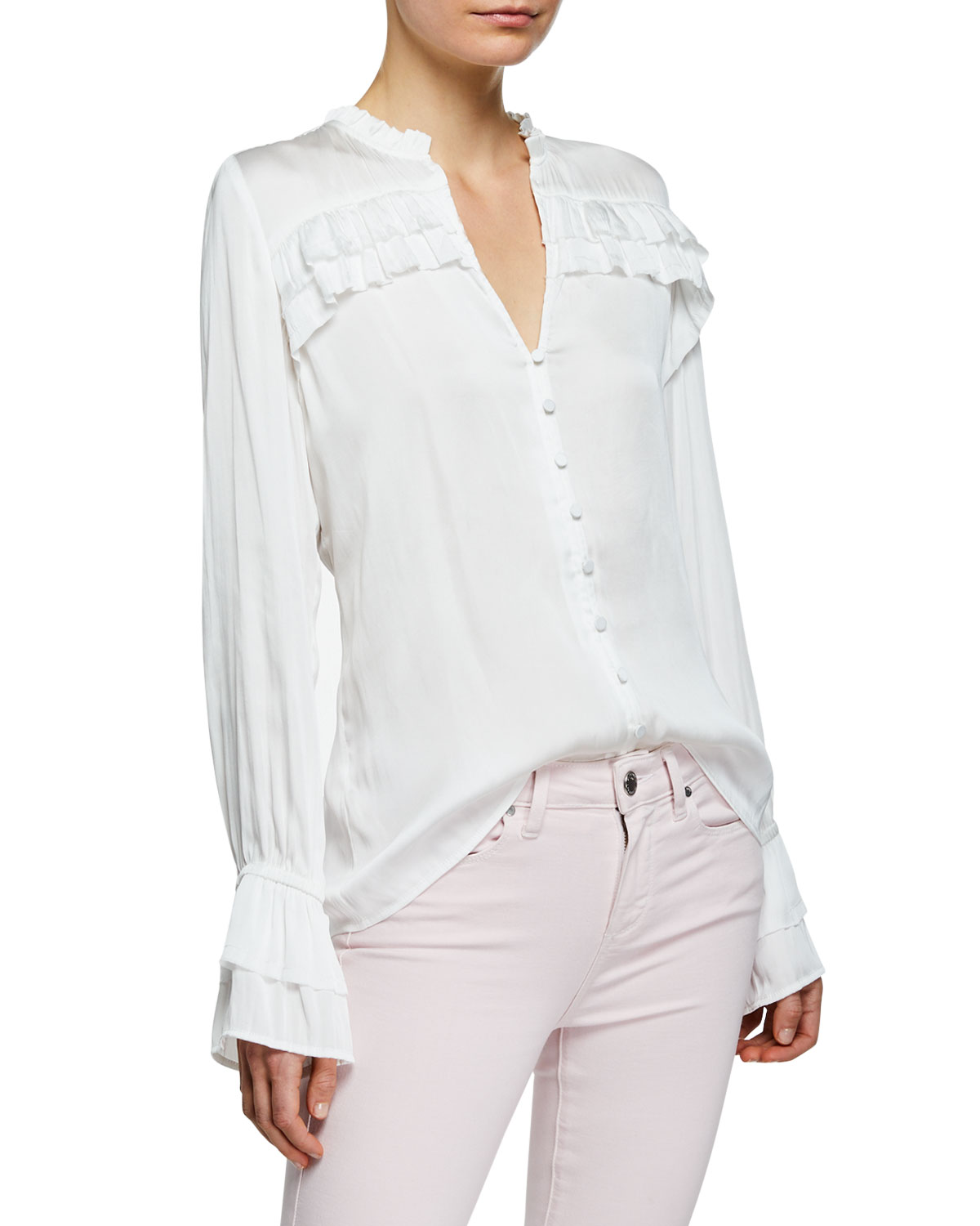 Paige Tops ANGUILLA LONG-SLEEVE BLOUSE WITH LAYERED RUFFLE TRIM