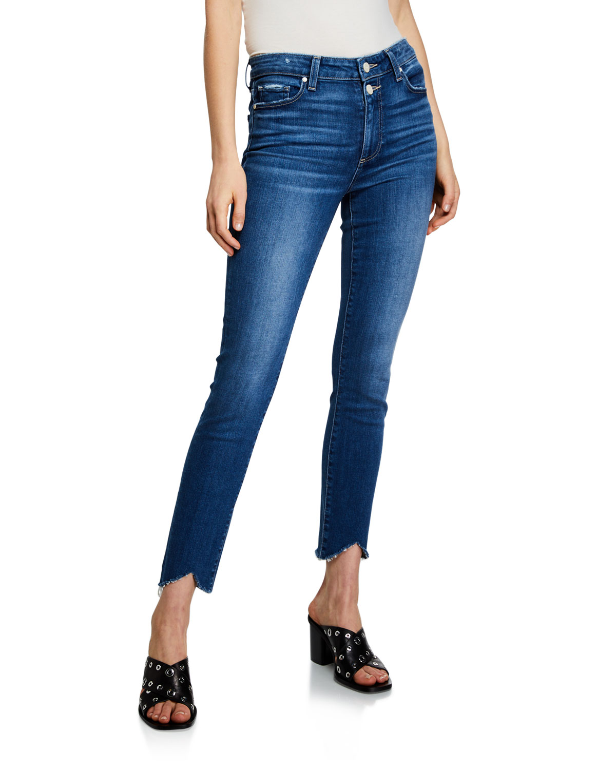 Paige Jeans HOXTON ANKLE-SPLIT SKINNY JEANS WITH DOUBLE BUTTONS