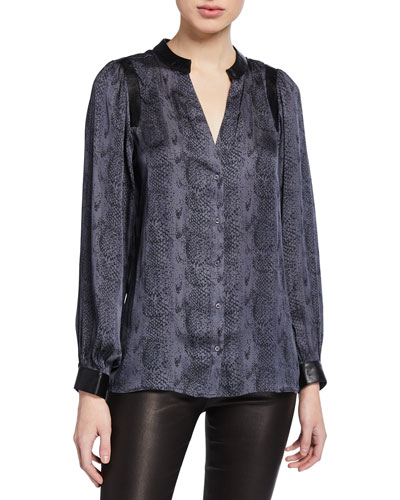 Adeli Snake-Print Button-Up Top w/ Faux Leather Trim