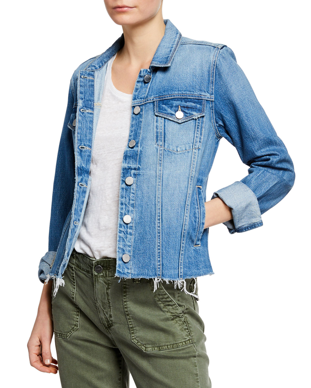 Paige Jackets Rowan Button-Front Denim Jacket w/ Raw Hem, SINEAD
