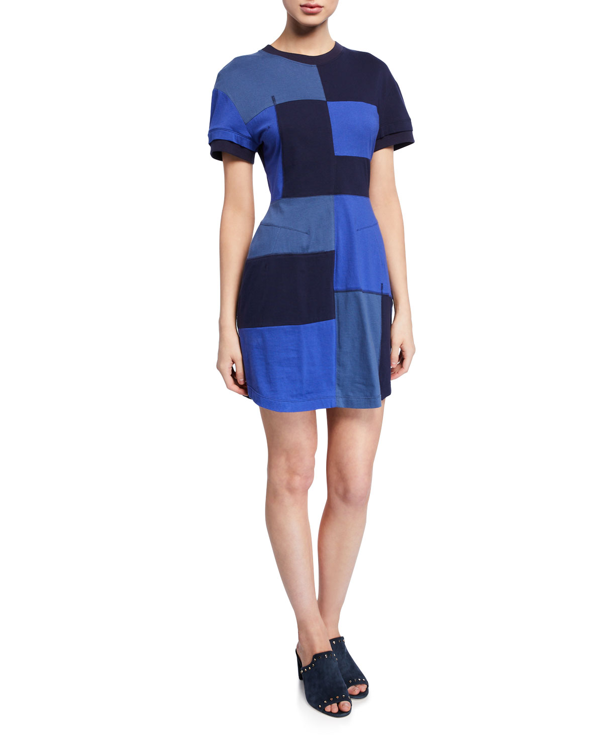 Derek Lam 10 Crosby Dresses PATCHWORK SHORT-SLEEVE T-SHIRT DRESS