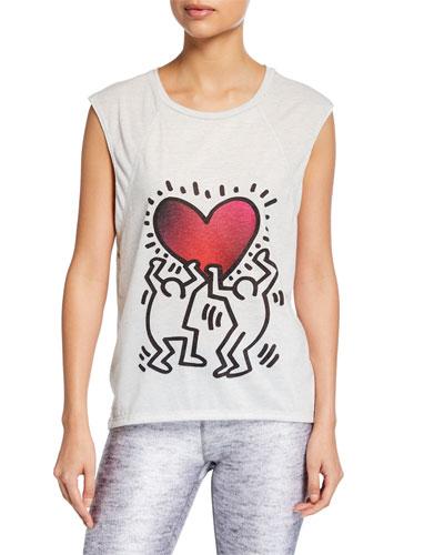 Terez X Keith Haring Printed Cap-Sleeve Tee