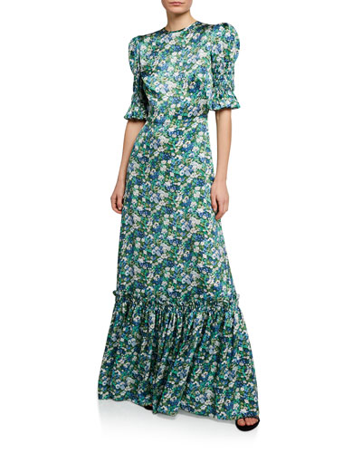 Floral Puff-Sleeve Silk Long Dress