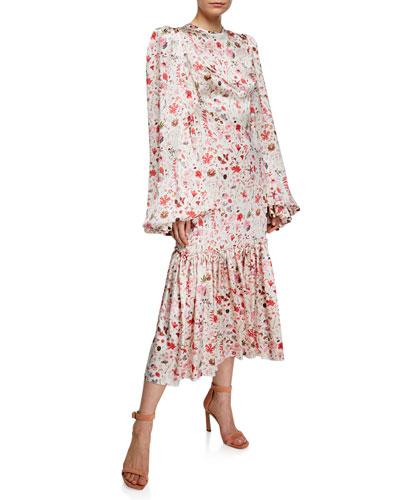 Floral Satin Blouson-Sleeve Midi Dress