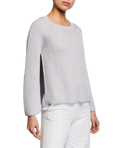 Long-Sleeve Open Sided Pullover with Sequins