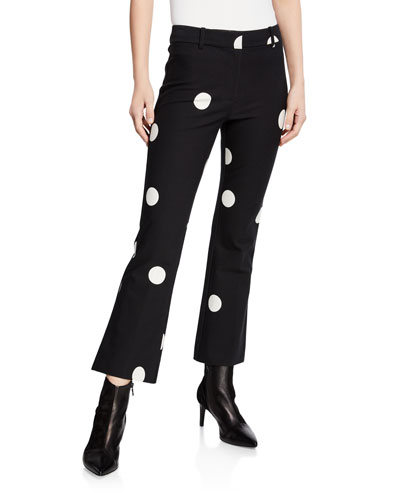 Flared Polka-Dot Cropped Trousers