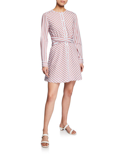 Stripe Poplin Long-Sleeve Mini Shirt Dress