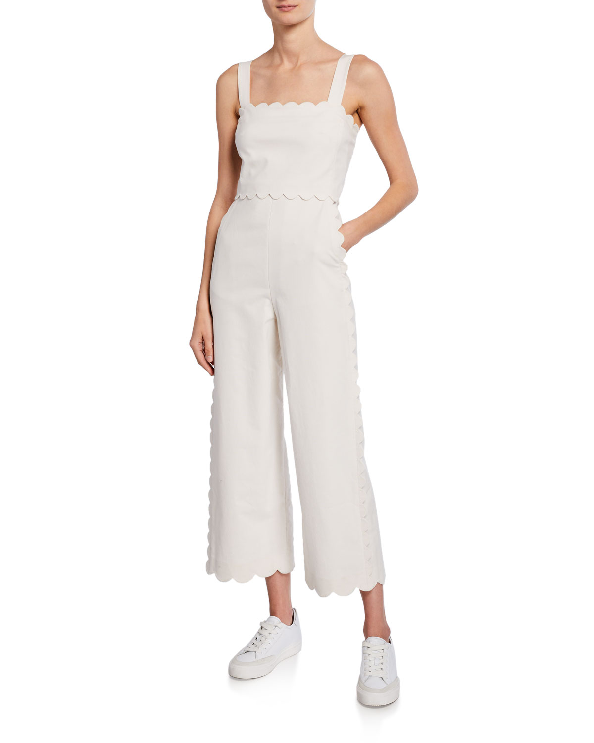 Rebecca Taylor Suits SLEEVELESS SCALLOPED JUMPSUIT