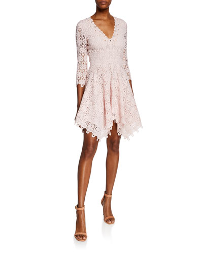 Guipure Lace V-Neck Dress