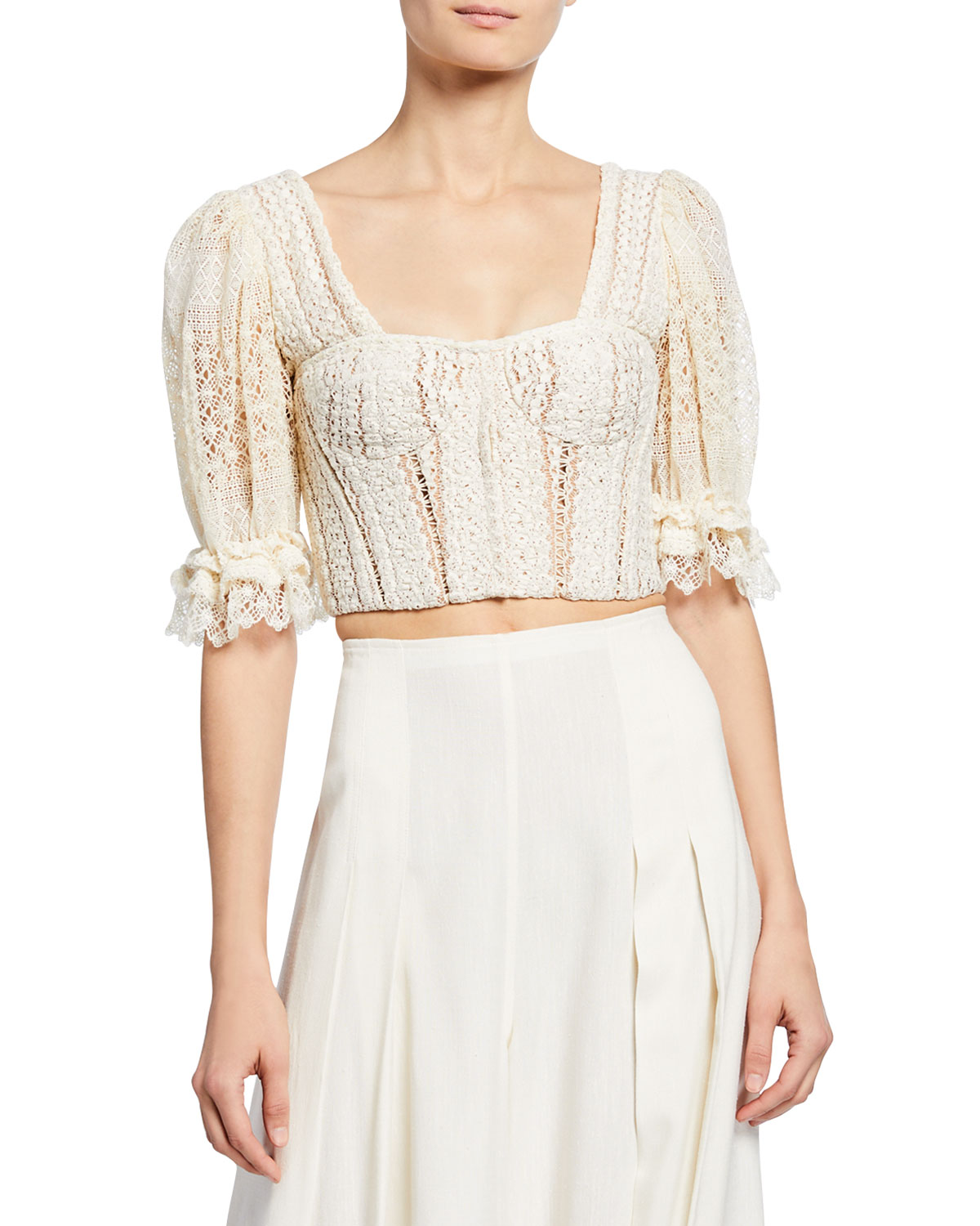 Jonathan Simkhai Tops Mixed Knit Lace Puff-Sleeve Bustier Top, WHITE