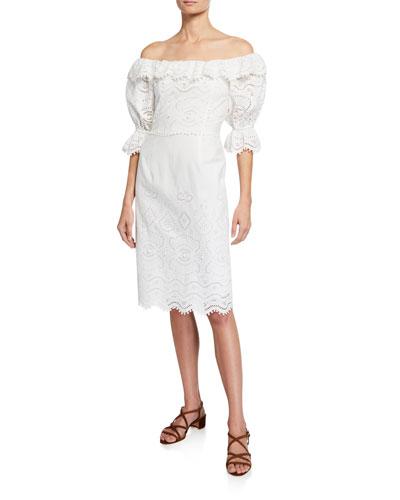 Naomie Off-the-Shoulder Puff-Sleeve Eyelet Dress