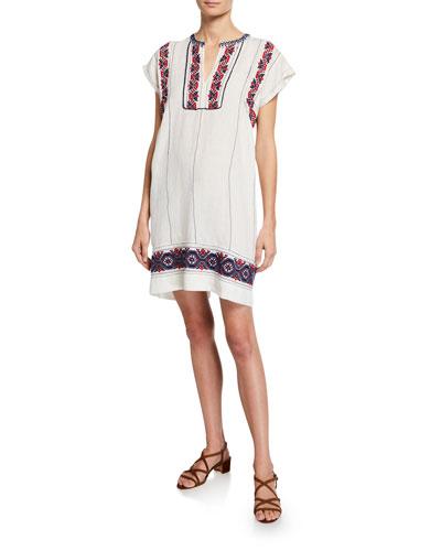 Leah Embellished Short-Sleeve Tunic Dress