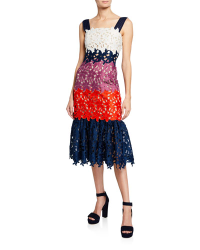 Maisey Colorblock Floral Lace Sleeveless Mermaid Dress