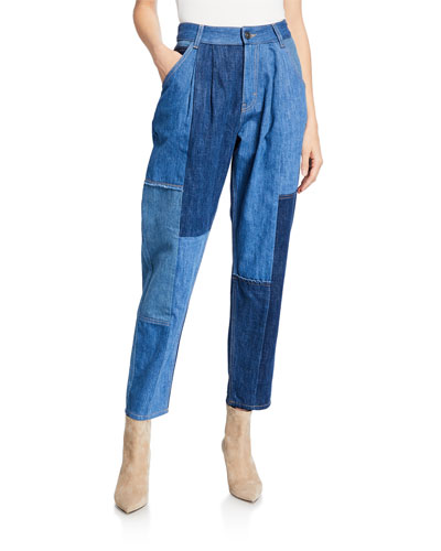 Denim Patchwork Pleated Trousers